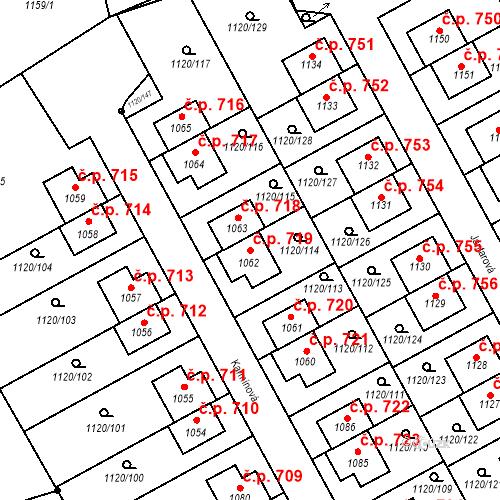 Katastrální mapa Stavební objekt Kudlov 719, Zlín