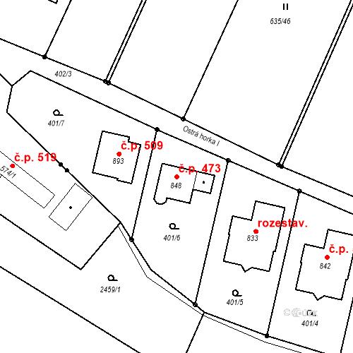 Katastrální mapa Stavební objekt Mladcová 473, Zlín