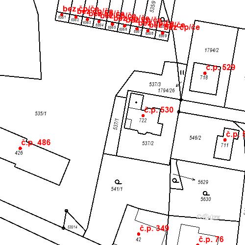 Katastrální mapa Stavební objekt Jindřichov 530, Jindřichov