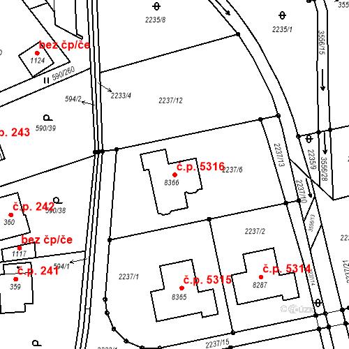 Katastrální mapa Stavební objekt Zlín 5316, Zlín