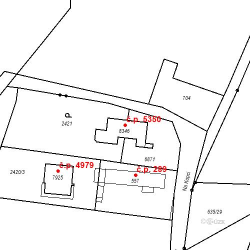 Katastrální mapa Stavební objekt Zlín 5350, Zlín