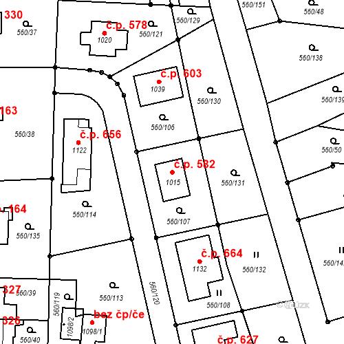 Katastrální mapa Stavební objekt Mladcová 582, Zlín