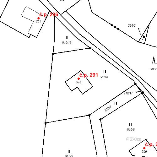 Katastrální mapa Stavební objekt Bohuslavice u Zlína 291, Bohuslavice u Zlína
