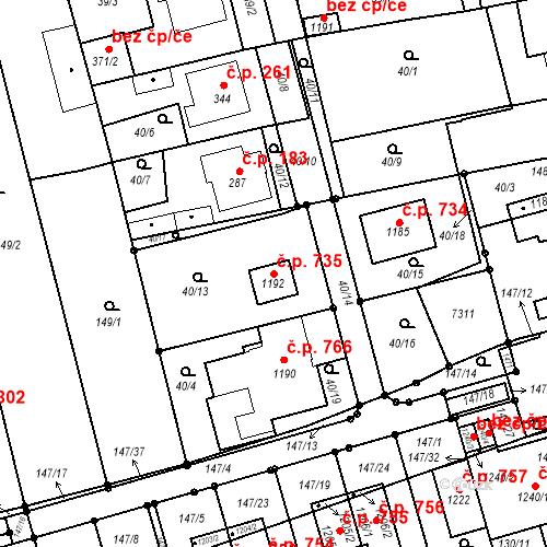 Katastrální mapa Stavební objekt Prštné 735, Zlín