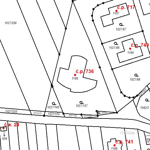 Katastrální mapa Stavební objekt Prštné 736, Zlín