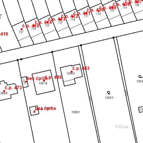 Katastrální mapa Stavební objekt Dřevohostice 483, Dřevohostice
