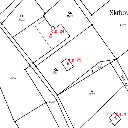 Katastrální mapa Stavební objekt Skrbovice 79, Široká Niva