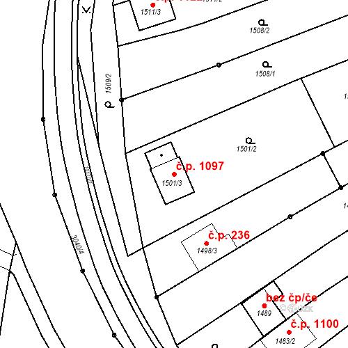 Katastrální mapa Stavební objekt Nivnice 1097, Nivnice