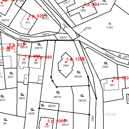 Katastrální mapa Stavební objekt Malenovice 1258, Zlín