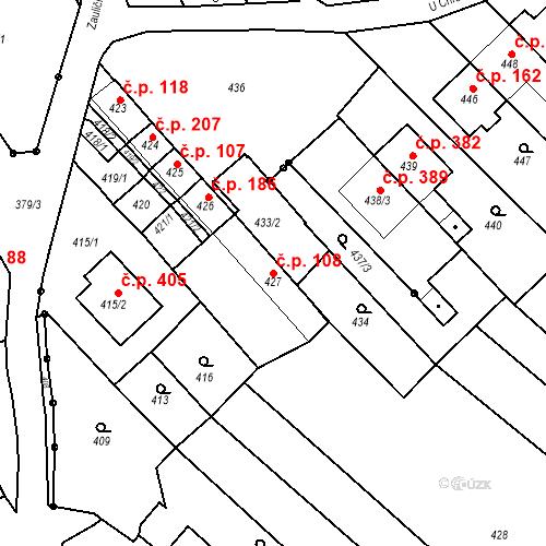 Katastrální mapa Stavební objekt Havřice 108, Uherský Brod