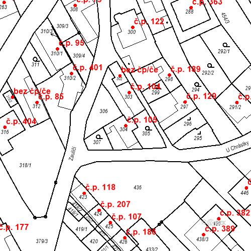 Katastrální mapa Stavební objekt Havřice 105, Uherský Brod