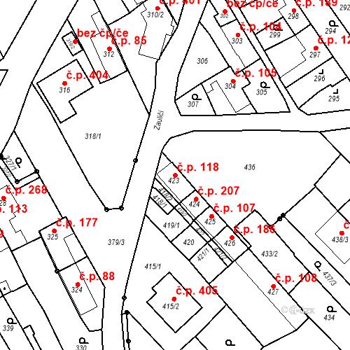 Katastrální mapa Stavební objekt Havřice 118, Uherský Brod