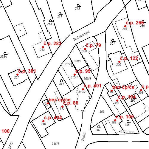 Katastrální mapa Stavební objekt Havřice 95, Uherský Brod