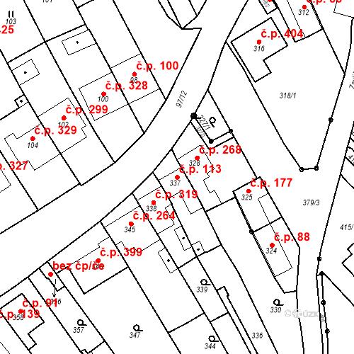 Katastrální mapa Stavební objekt Havřice 113, Uherský Brod