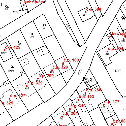 Katastrální mapa Stavební objekt Havřice 100, Uherský Brod