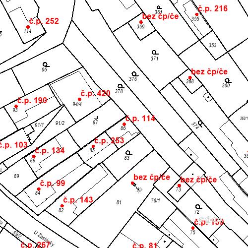 Katastrální mapa Stavební objekt Havřice 114, Uherský Brod
