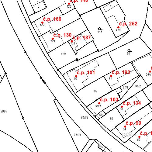 Katastrální mapa Stavební objekt Havřice 101, Uherský Brod