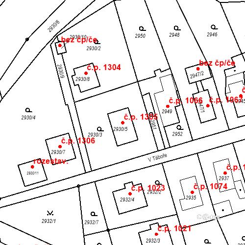 Katastrální mapa Stavební objekt Bruntál 1305, Bruntál