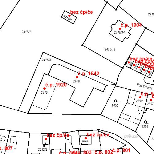 Katastrální mapa Stavební objekt Bruntál 1542, Bruntál
