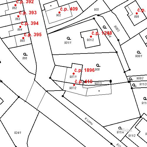 Katastrální mapa Stavební objekt Bruntál 1896, Bruntál