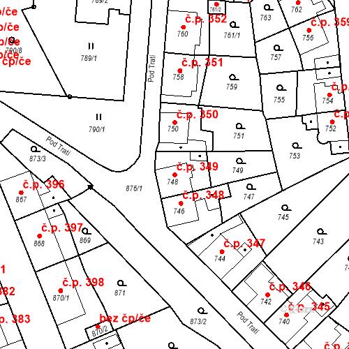 Katastrální mapa Stavební objekt Bruntál 349, Bruntál