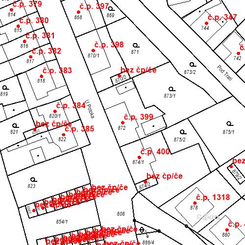 Katastrální mapa Stavební objekt Bruntál 399, Bruntál