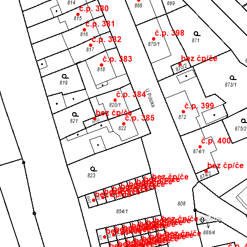Katastrální mapa Stavební objekt Bruntál 385, Bruntál