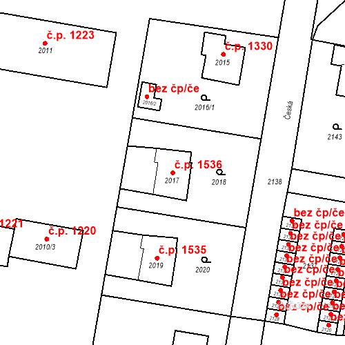 Katastrální mapa Stavební objekt Bruntál 1536, Bruntál
