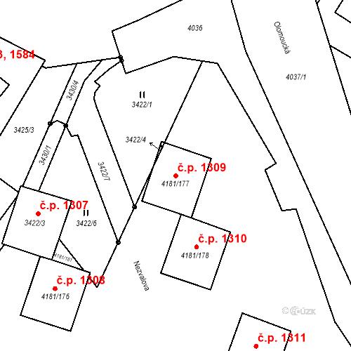Katastrální mapa Stavební objekt Bruntál 1309, Bruntál