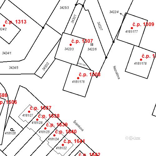 Katastrální mapa Stavební objekt Bruntál 1308, Bruntál