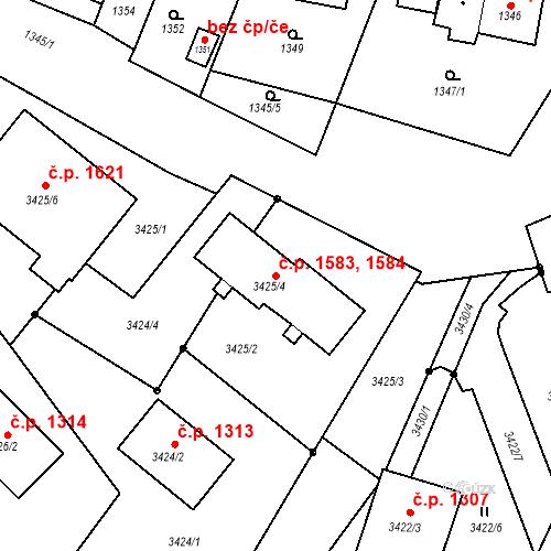 Katastrální mapa Stavební objekt Bruntál 1583, 1584, Bruntál