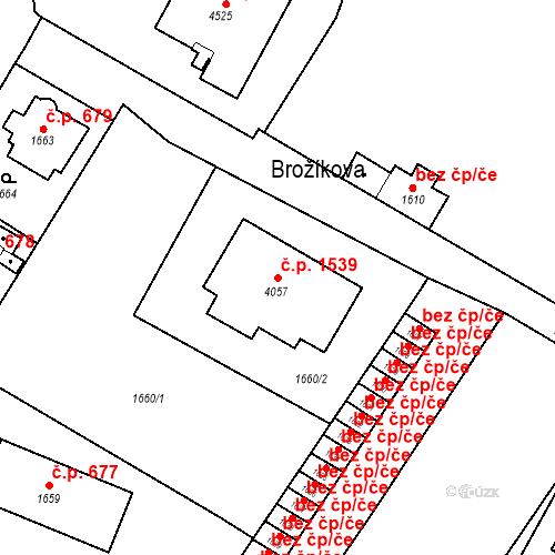 Katastrální mapa Stavební objekt Bruntál 1539, Bruntál