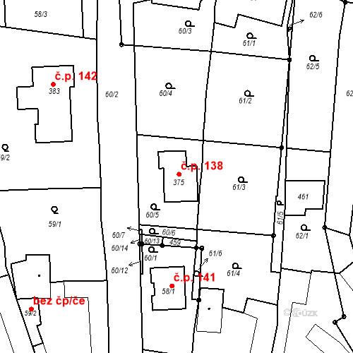 Katastrální mapa Stavební objekt Zahnašovice 138, Zahnašovice