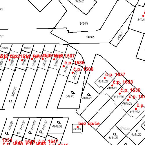 Katastrální mapa Stavební objekt Bruntál 1506, Bruntál