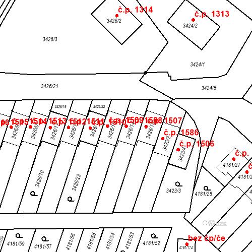 Katastrální mapa Stavební objekt Bruntál 1508, Bruntál