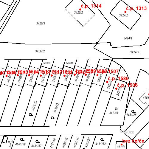 Katastrální mapa Stavební objekt Bruntál 1509, Bruntál