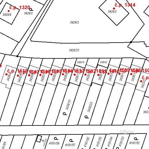 Katastrální mapa Stavební objekt Bruntál 1512, Bruntál