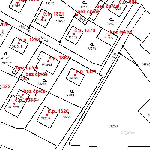 Katastrální mapa Stavební objekt Bruntál 1321, Bruntál