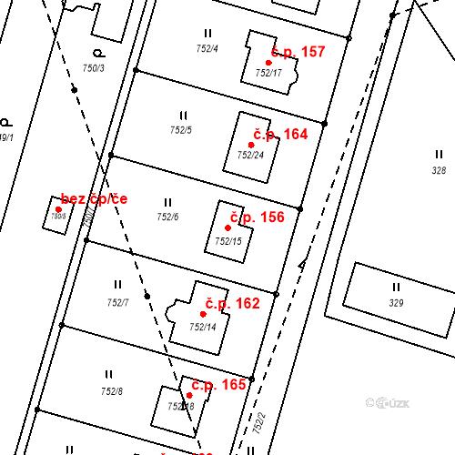 Katastrální mapa Stavební objekt Domaželice 156, Domaželice