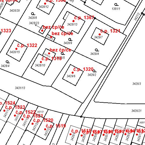 Katastrální mapa Stavební objekt Bruntál 1320, Bruntál