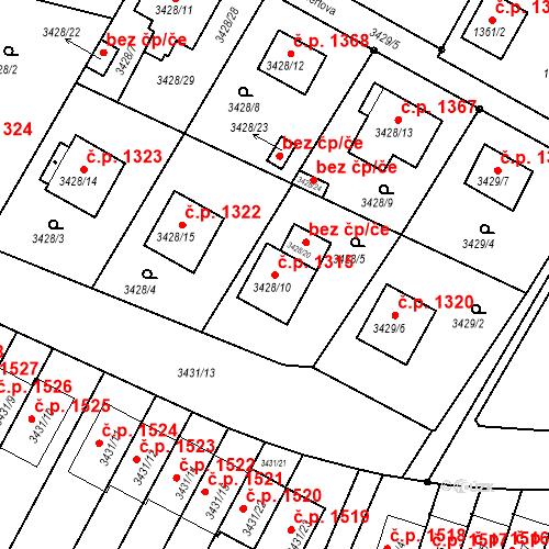 Katastrální mapa Stavební objekt Bruntál 1315, Bruntál