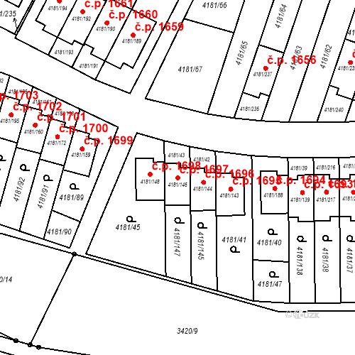 Katastrální mapa Stavební objekt Bruntál 1697, Bruntál