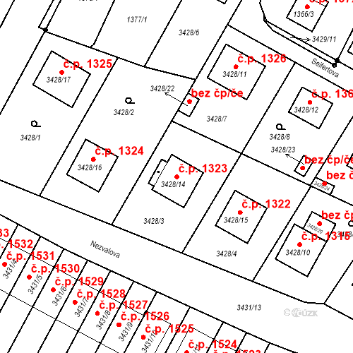 Katastrální mapa Stavební objekt Bruntál 1323, Bruntál