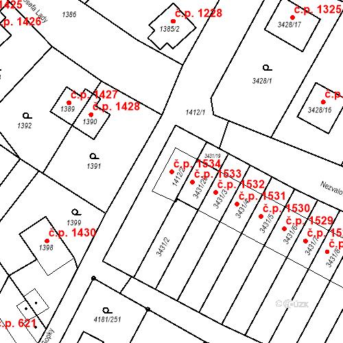 Katastrální mapa Stavební objekt Bruntál 1534, Bruntál