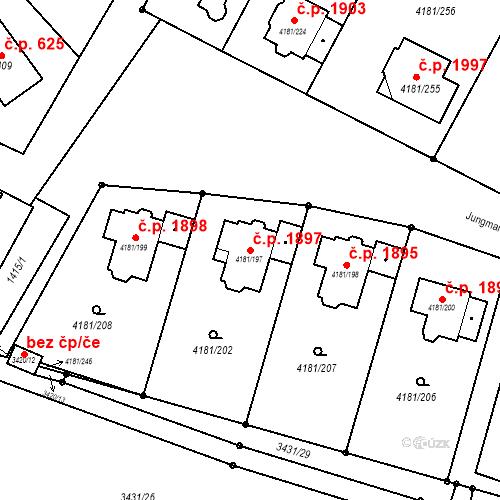 Katastrální mapa Stavební objekt Bruntál 1897, Bruntál