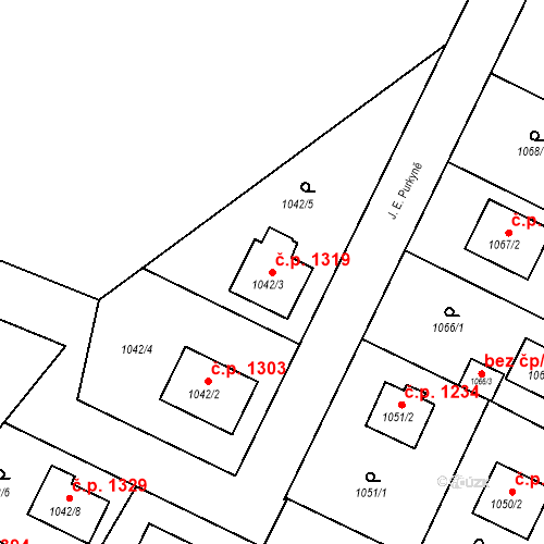 Katastrální mapa Stavební objekt Bruntál 1319, Bruntál