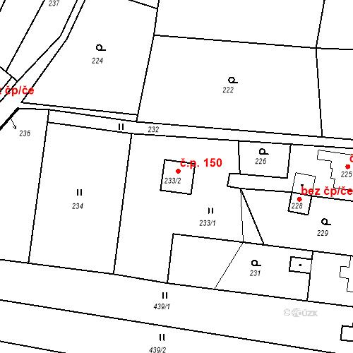 Katastrální mapa Stavební objekt Oldřichovice 150, Oldřichovice