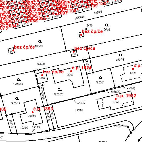 Katastrální mapa Stavební objekt Otrokovice 1824, Otrokovice