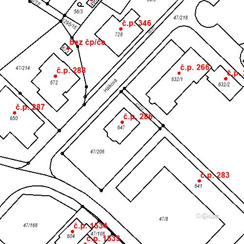Katastrální mapa Stavební objekt Kvítkovice 286, Otrokovice