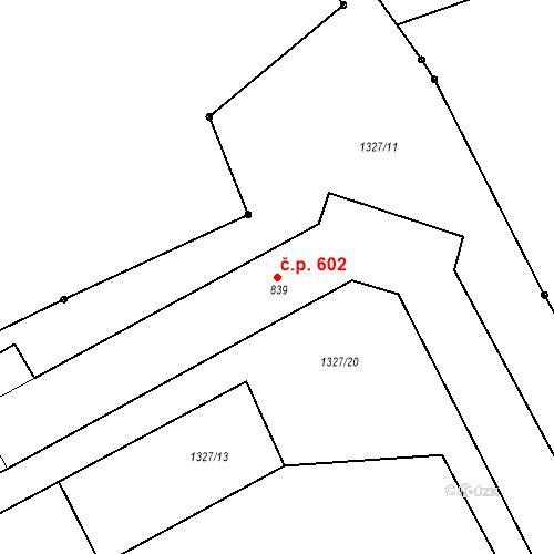 Katastrální mapa Stavební objekt Tlumačov 602, Tlumačov